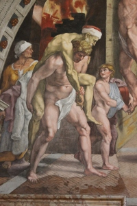 Naked Santa Being Carried by a Naked Guy - from The Vatican Museums... because I don't have a picture of the hotel door.
